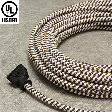 3-CONDUCTOR 18-GAUGE DARK BROWN & WHITE SMALL HOUND'S-TOOTH  COTTON PULLEY CORD - UL-Listed