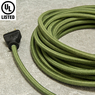 3-CONDUCTOR 18-GAUGE GREEN COTTON PULLEY CORD - UL-Listed