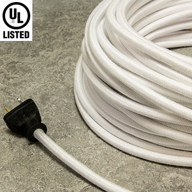 2-CONDUCTOR 18-GAUGE WHITE COTTON PULLEY CORD - UL-Listed