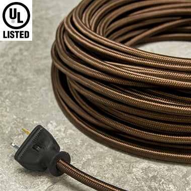 3-CONDUCTOR 18-GAUGE WALNUT BROWN RAYON PULLEY CORD - UL-Listed