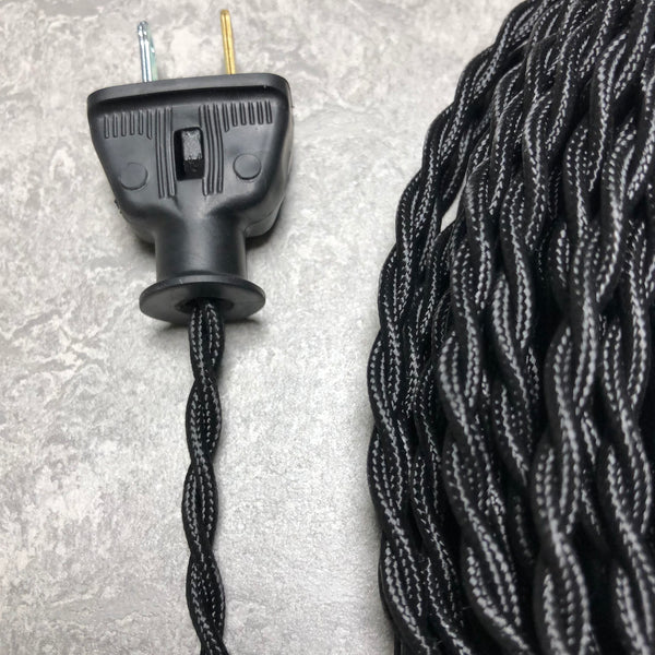 2-CONDUCTOR 20-GAUGE BLACK RAYON TWISTED WIRE