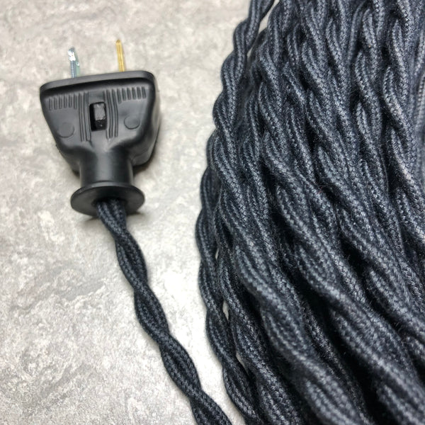 2-CONDUCTOR 22-GAUGE BLACK COTTON TWISTED WIRE