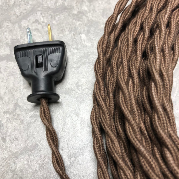 2-CONDUCTOR 22-GAUGE DARK BROWN COTTON TWISTED WIRE