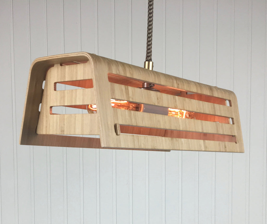 Bamboo Slatted Trapezoid Pendant Light