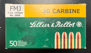 Sellier and Bellot 30 Carbine FMJ 110 gr.