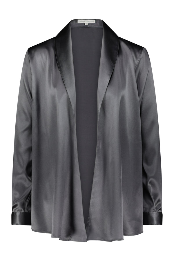 ANNA WRAP SILK SATIN BLOUSE Gun Metal