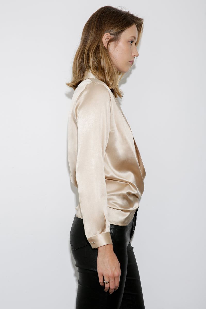 Anna Wrap Silk Satin Blouse sand