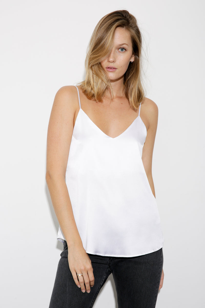 Sienna Silk Satin Cami white