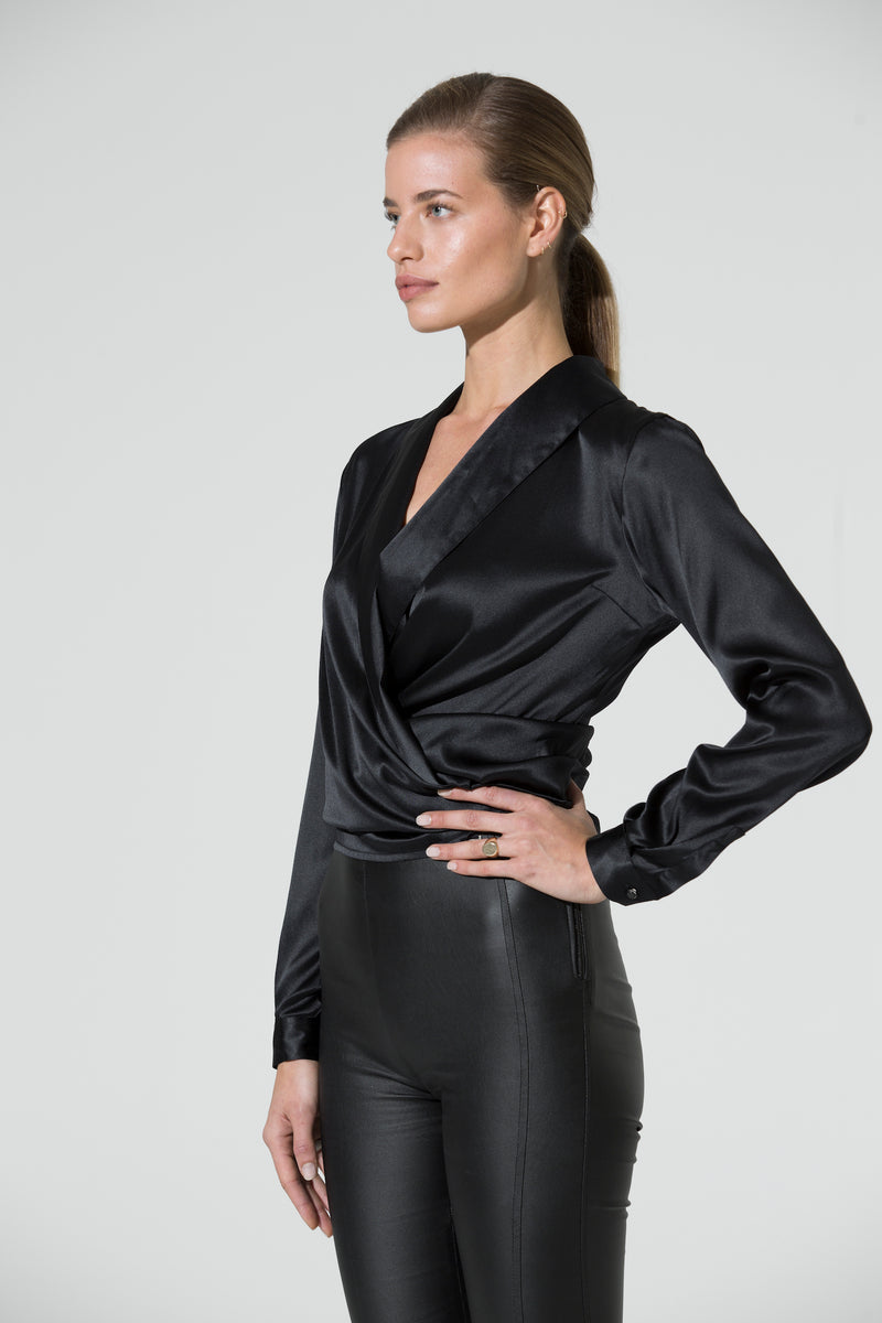 ANNA Wrap Silk Satin Blouse black
