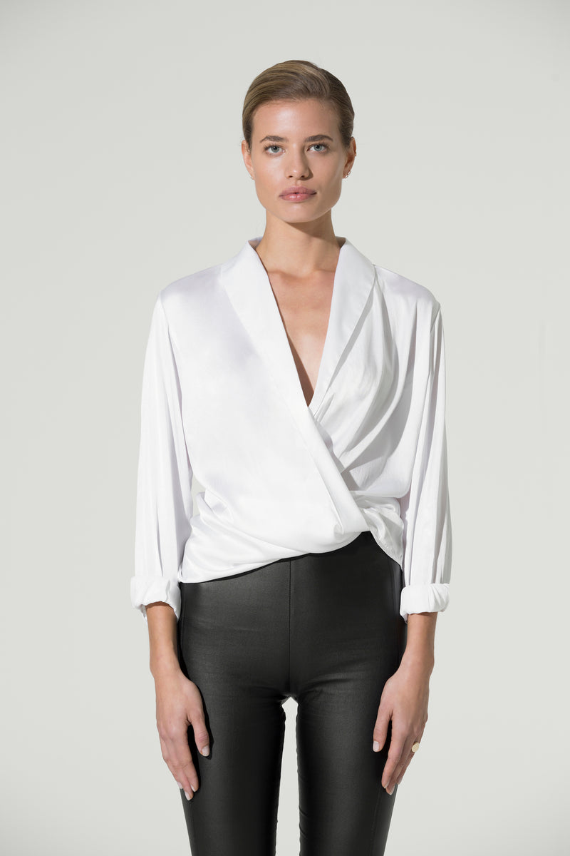 ANNA Wrap Silk Satin Blouse white