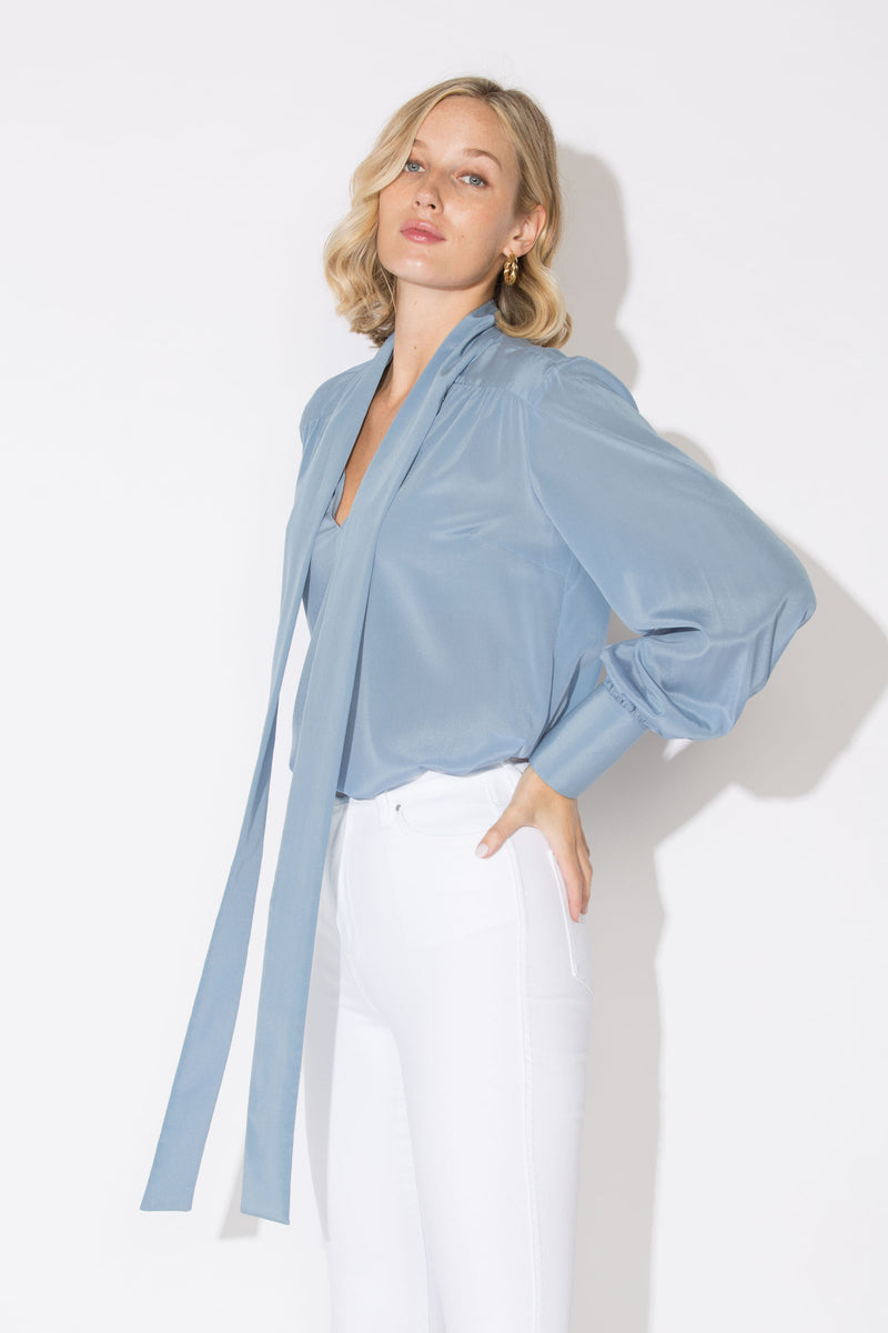 Austin 2.0 Silk Blouse Sky Blue