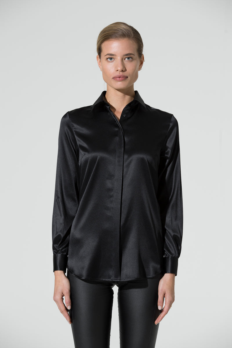 BELLA  Silk Shirt black