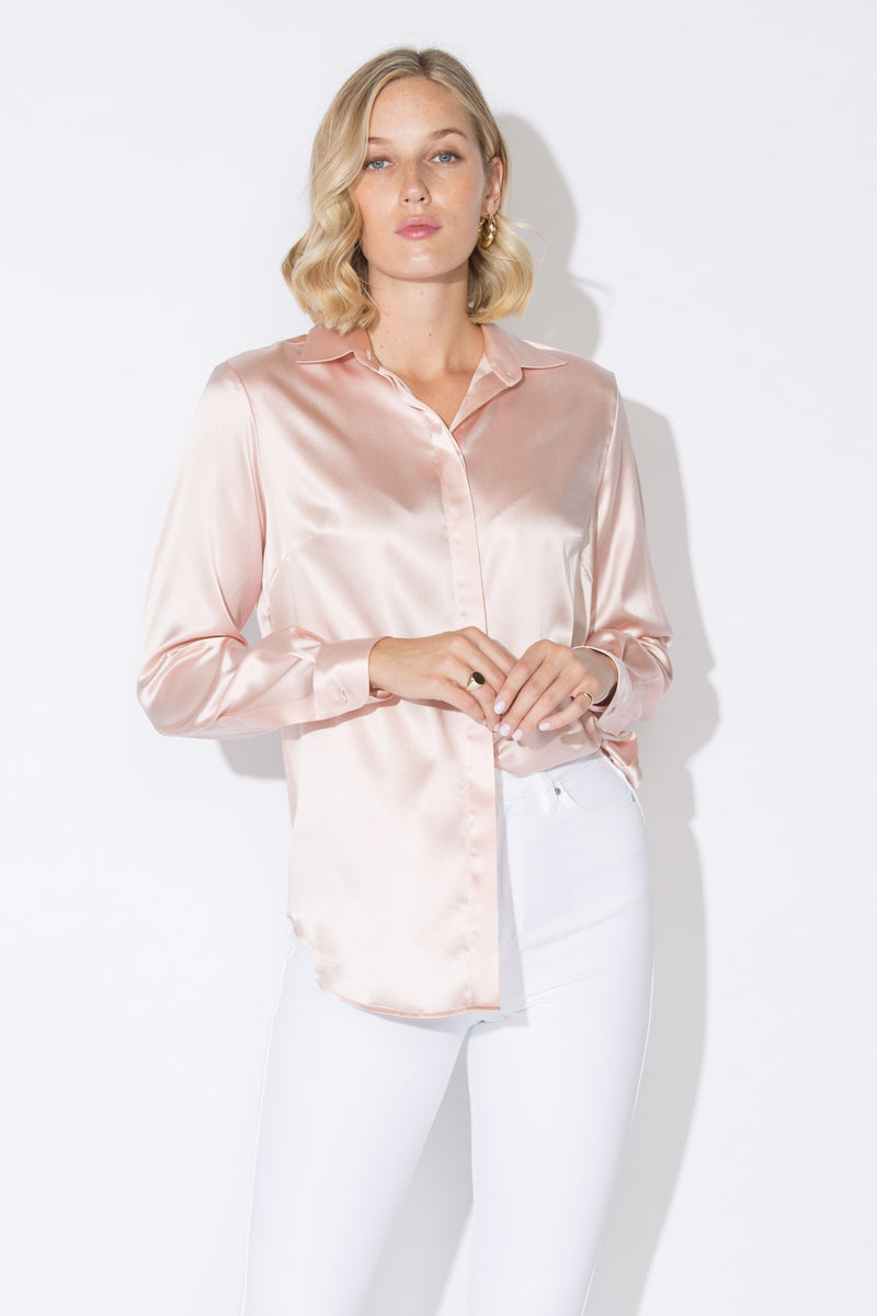 BELLA Classic Silk Shirt Blush