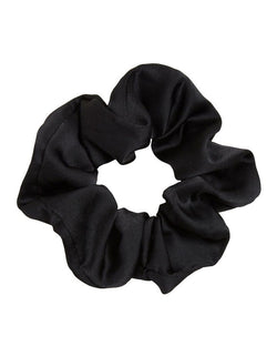 Black silk satin scrunchie hair tie