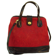 Marco in Paprika Floral & Licorice Leather