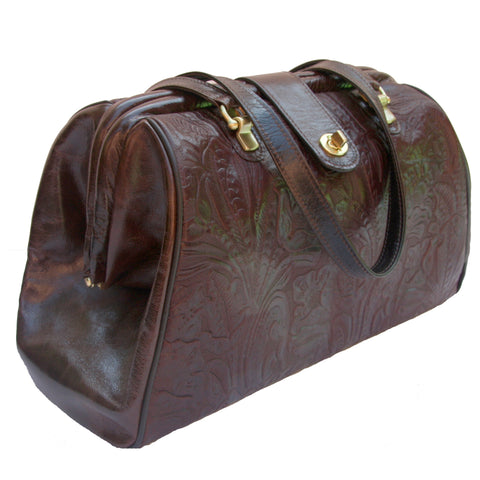 Picture of Watson in Cognac Floral & Espresso Leather