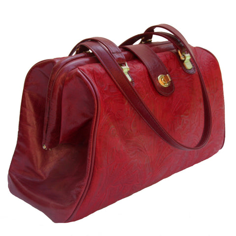 Picture of Watson in Paprika Floral & Cherry Leather