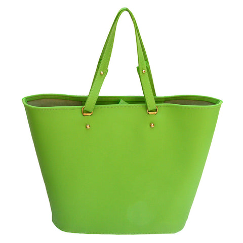 Picture of Venus Tote in Lime Leather by Sage Luxury