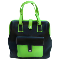 Milo in Ebony & Lime Leather by Sage Luxury
