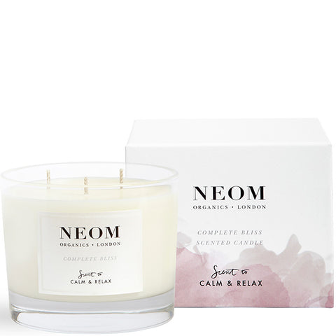 Neom Organics COMPLETE BLISS Scented Candle, 3 wick/420gr - Moroccan Blush Rose, Lime & Black Pepper - alice&white sthlm