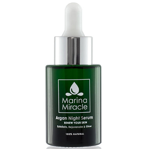 Marina Miracle Argan Night Serum, 28ml - exfoliate, rejuvenate, glow - with AHA & Argan, all skin types incl. sensitive or acne prone