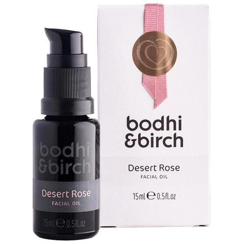 Bodhi & Birch Desert Rose Facial Oil, 15ml - powerful GLA organic age-refining oils of Argan, Rose, Prickly Pear & Starflower for youthful radiant glow, firmness, wrinkles reduction