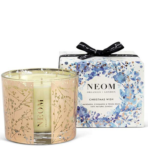 Neom Organics CHRISTMAS WISH Scented Candle, 3 wick/420gr - Scent to De-stress - Mandarin, Cinnamon & Tonka bean -100% natural