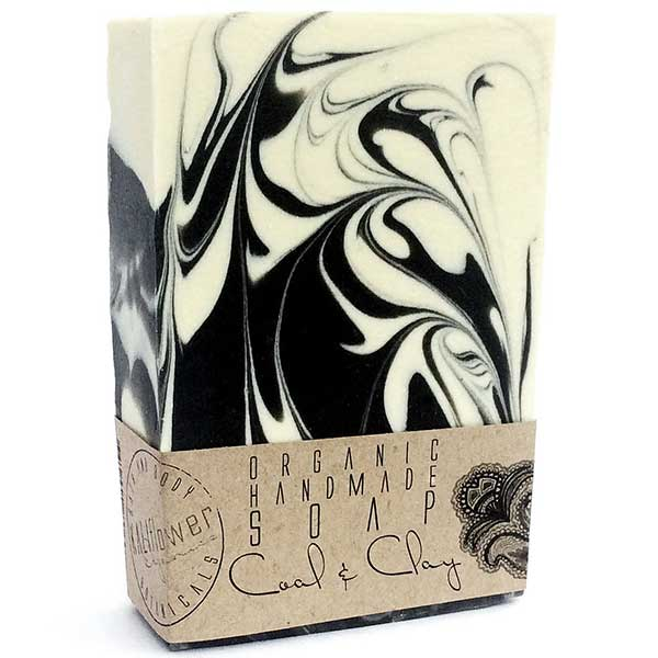KaliFlower Organics Coal & Clay 150g - organic face & body soap bar with Tea Tree, Lavender & Mint - alice&white sthlm