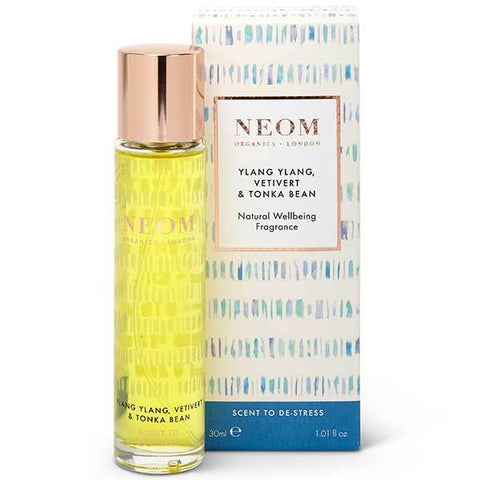 Neom Organics Ylang Ylang, Vetivert & Tonka Bean Natural Wellbeing Fragrance, 30ml - Scent To De-stress - 100% natural eau de parfum