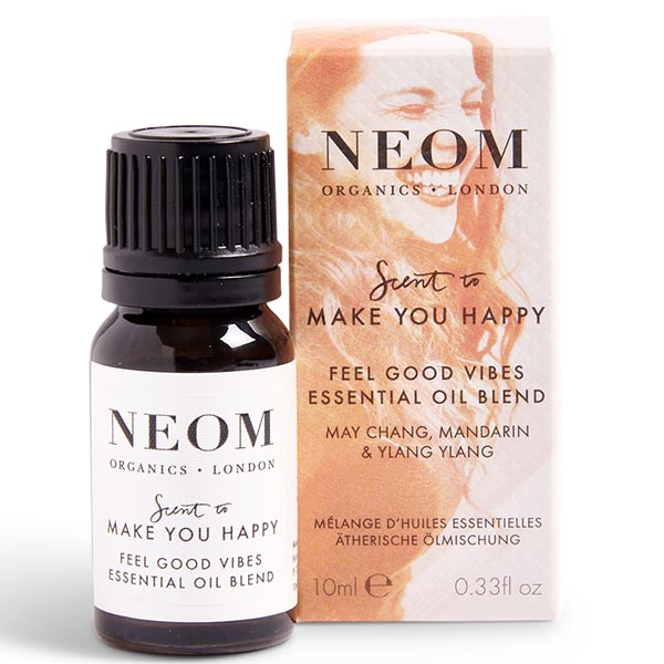 Neom Organics FEEL GOOD VIBES Essential Oil Blend, 10ml - scent to MAKE YOU HAPPY - use w/ Wellbeing Pod or bath & sauna