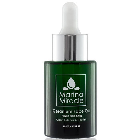 Marina Miracle Geranium Face Oil, 28ml - clear, balance & nourish - blemishes, acne, acne scars & oily skin