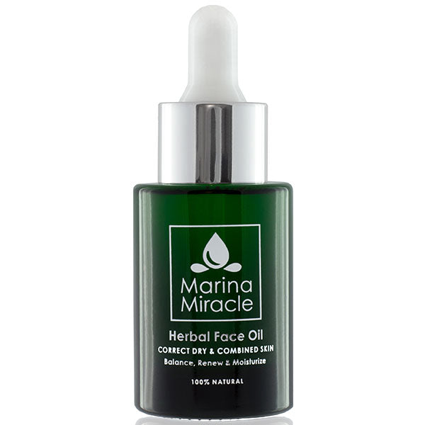 Marina Miracle Herbal Face Oil, 28ml - corrects dry, irritated, eczema prone & combined skins - alice&white sthlm
