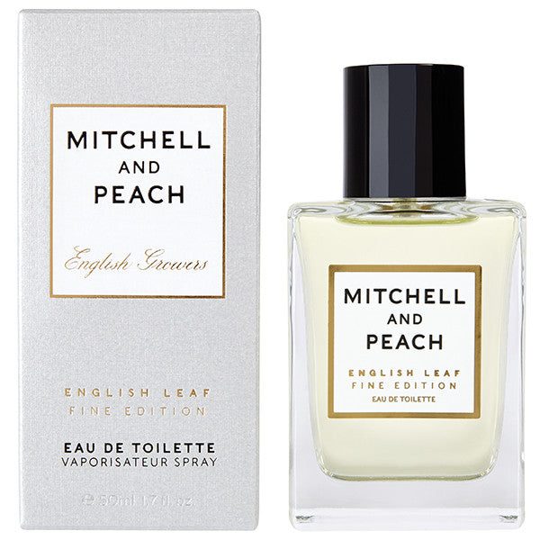 Mitchell and Peach English Leaf Fine Edition Eau de Toilette, 50ml - Hand-blended with natural extracts of soft citrus, coriander leaves, basil, mint & floral oils