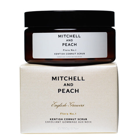 Mitchell and Peach Kentish Cobnut Scrub, 260g - 100% natural luxury sugar scrub w/ lavender & violet, highly hydrating