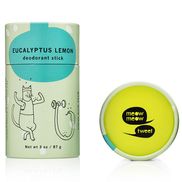 Meow Meow Tweet Deodorant Stick Lemon Eucalyptus, 50gr - 100% natural, won't irritate your underarms & works for the whole day, unisex, vegan & free from nasties