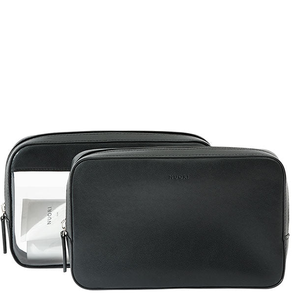 NUORI Sideway Travel Case set 2-in-1 - sleek & elegant vegan cosmetic bags - black