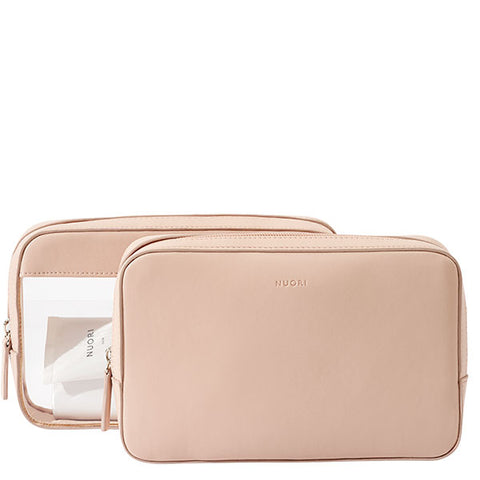 NUORI Sideway Travel Case set 2-in-1 - sleek & elegant vegan cosmetic bags - rose