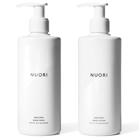NUORI Enriched Duo Hand Wash + Lotion, 2 x 300ml - White Tea Blossom - protects dry sensitive skin