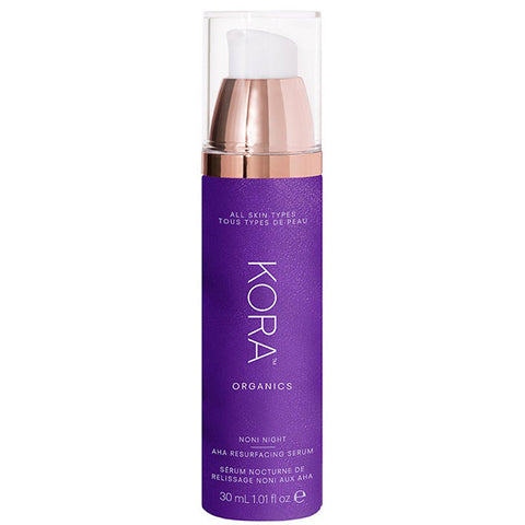 KORA Organics Noni Night AHA Resurfacing Serum, 30ml -  minimises pores & lines, w/antioxidants for healthy, radiant glow