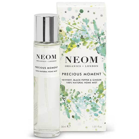 Neom Organics PRECIOUS MOMENT Home Mist, 30ml - Scent to Boost your Energy - Vetivert, black Pepper & Ginger -100% natural