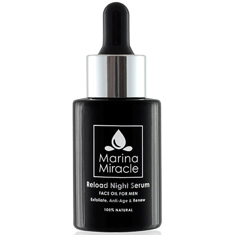 Marina Miracle Reload Night Serum for Men, 28ml - natural AHA exfoliates, anti-age & renews while you sleep, sensitive or acne skin friendly