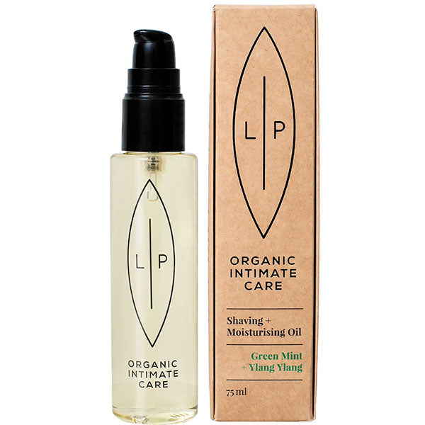 LIP Organic Intimate Care SHAVING + MOISTURISING OIL Green Mint + Ylang Ylang, 75ml - chemical free, vegan, 100% natural