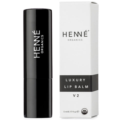 HENNÉ Organics Luxury Lip Balm V2, 5ml - cult favorite luxury lip balm in stick form & sleek black metal tube, unscented & essential oil free