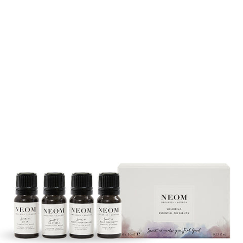 Neom Organics WELLBEING ESSENTIAL OIL BLENDS Collection, 4 x 10ml - to use w/ Wellbeing Pod or bath & sauna