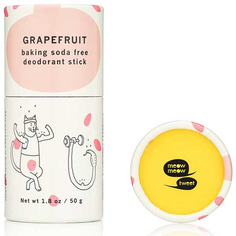 Meow Meow Tweet Baking Soda Free Deodorant Stick GRAPEFRUIT, 50gr -  baking soda free & vegan