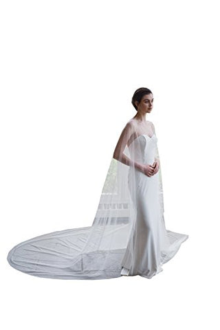kelaixiang Elegant Tulle Wedding Cape Lace beading 3M Bridal Capes Wedding Jacket (3meters, Ivory) at Amazon Women's Clothing store: - Victobelle