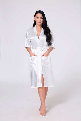 White Silk Robe With Pockets - Victobelle
