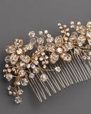 Floral and Rhinestones hair comb - Victobelle