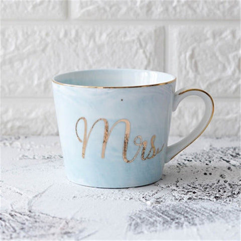 Luxury Marble Ceramic Mugs Gold Plating MRS MR Couple Lover's Gift Morning Mug Milk Coffee Tea Breakfast Creative Porcelain Cup - Victobelle