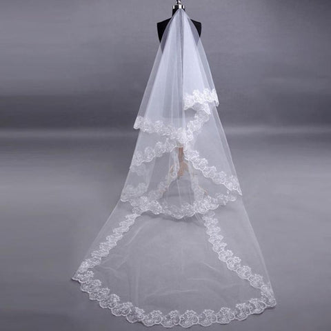 Lace Edge Long Wedding Veil (3 meters) - Victobelle